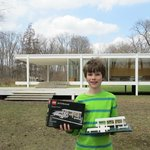 RN on the south side of Farnsworth House with his LEGO Farnsworth House Model