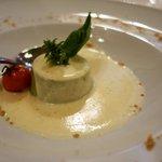 Broccholi pudding on Pecorino fondue