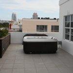 Aussicht aus dem Zimmer auf die Terrasse