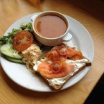 Red pepper soup and smoked salmon open sandwich :) yum!