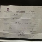 Cash Receipt no 07927 dari Reception hotel