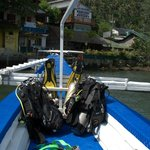 Dive boat, gear, and the resort
