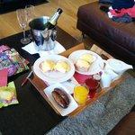 Eggs Benedict breakfast in the room