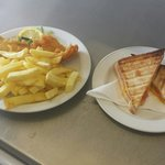 The small fish and chips  A cheese and tomato toastie
