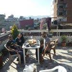 Breakfast with friends on Hotel Sweet Dreams rooftop