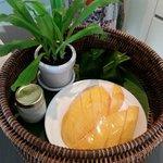 mango sticky rice upon welcome