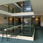 internal lift and atrium 1970s style