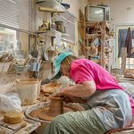 Diane creating pottery.