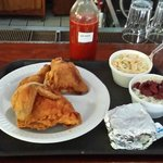Fried Chicken, red beans and rice and slaw - yum