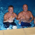 new year in the pool with champagne