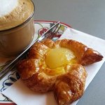 Latte with a pear croissant. Amazing!