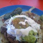 Beef & Cabeza Taco with all sorts of yummy toppings.