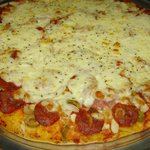 A thick crust pizza