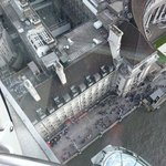 looking down on the the hotel from the the London Eye