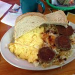 Sausage, Eggs, Hashbrowns & Rye Toast