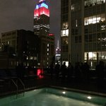 Rooftop pool view of the empire state building