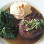Filet Mignon, Lobster mashed potato and garlic spinach