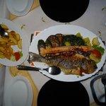 Grilled Sea Bream with scampi and calamari