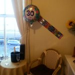 The champagne and some of the decorations set up for my birthday surprise