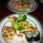 Hibachi chicken & shrimp . Two Alvocado rolls.