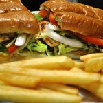 Mexican sandwich/torta mexicana with french fries