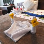 Towel art - fresh flowers