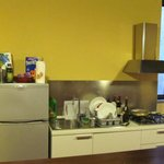 The furnished kitchen in our apartment -- where my wife cooked Easter dinner.