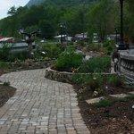 Cobblestone walkway through the garden
