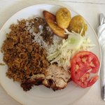 Dominican meal served at the Damajagua Falls tours