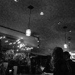 Cool lighting over the bar