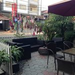 Nice lounging patio in front of hotel...