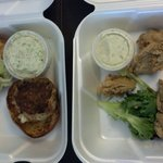 Fried oysters and crab cake sandwich