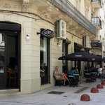 Outdoor tables on a pedestrian zone