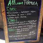 Notre menu du jour à 15 euros