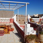 The rooftop terrace.