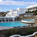 View of the main building of Porro Mykonos hotell from our balcony....several buildings make pro