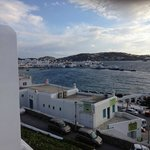 View to bay and town from our waterfront balcony at Porto Mykonos hotel