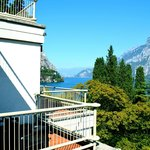 View from our balcony of Lecco and the view down the lake. Dining room has a similar view