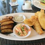 Beer battered fish and potato wedges