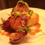 French trimmed pork chop, dauphinoise potato, black pudding fritters, jus