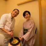 Owner/chef Hideki Ishikawa with charming host