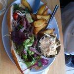 Steak open sandich with coleslaw