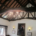 Main dining room with historic roof timbers