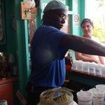 Mick mixing Painkillers at Soggy Dollar Bar - Jost Van Dyke BVI