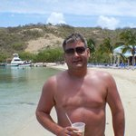Me enjoying at Bushwacker at Pirates Bight on Norman Island BVI