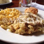 Chicken & Dressing w/ Mac N Cheese.