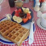 waffles, fruit and chocolate dip!