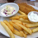 Catfish, fries and coleslaw