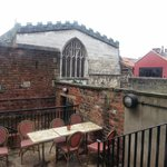 Overlooking York's Guild Hall from Cafe Rouge's rear patio