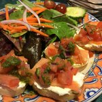 Smoked sal mon and goat cheese bruschetta